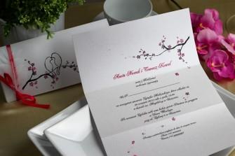 Różowe zaproszenie ślubne - Kwiat wiśni Katowice