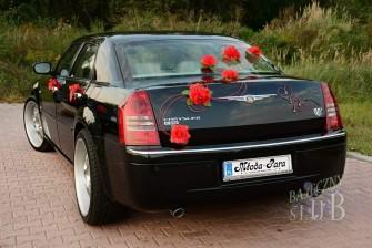 Auto do Ślubu Chrysler 300c czarna perła na 22 calowych felgach. Rybnik