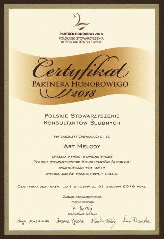 Certyfikat Partnera Honorowego Toruń