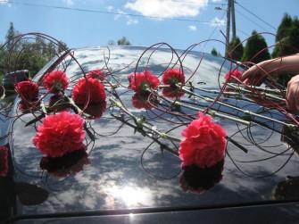dekoracja auta  ślubnego Skawina