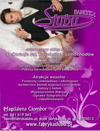 Fabryka Ślubu organiazacja wesel Podkarpacie atrakcje weselne oprawa Strzyżów