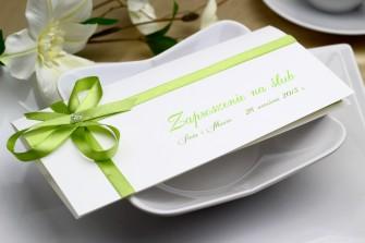 Zaproszenie �lubne - Zielona kokardka Katowice