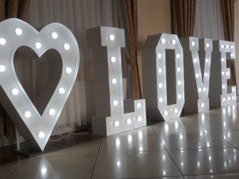 Love + serce białe wys 120 cm Bielsk Podlaski