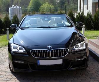 Piękne czarne BMW Cabrio z białymi skórzanymi fotelami Katowice