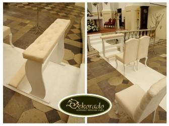Krzesła i klęcznik do dekoracji alejki ślubnej Rybnik