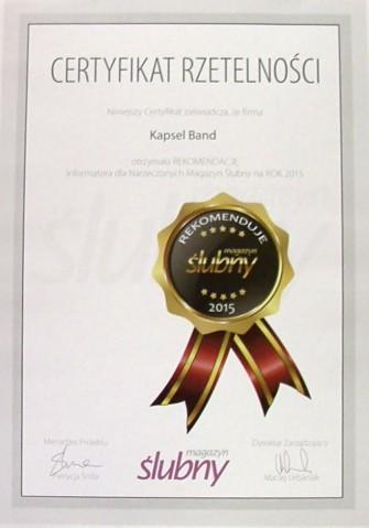 Certyfikat - Magazyn Ślubny Poznań