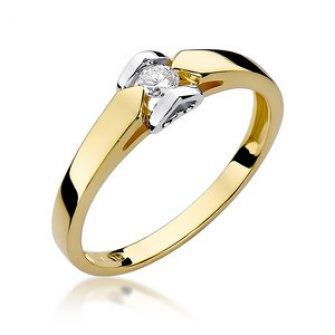 Złoty pierścionek zaręczynowy z brylantem Polkowice