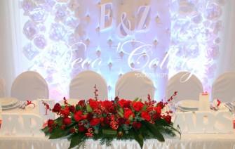 Tło za parą młodą dekoracje ślubne Szczecin Deco'Collage moduł pikowany, papierowe kwiaty