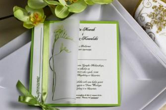 Zielone zaproszenie ślubne - Frezja Katowice