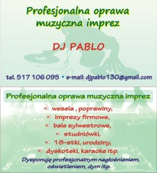 DJ PABLO, WODZIREJ NA TWOJE WESELE Bystra