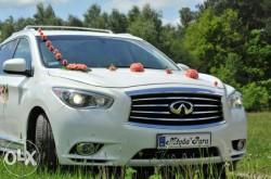 Auto do ślubu białe nowe Infiniti 2015r. białe skóry Mińsk Mazowiecki