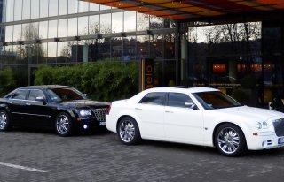 Chrysler 300C czarna perła i śnieznobiały na ślub i wesele Siemianowice Śląskie