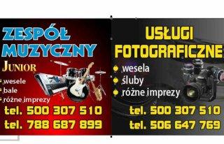 JUNIOR Zespół Muzyczny + Fotografia Ślubna +Video filmowanie Mława